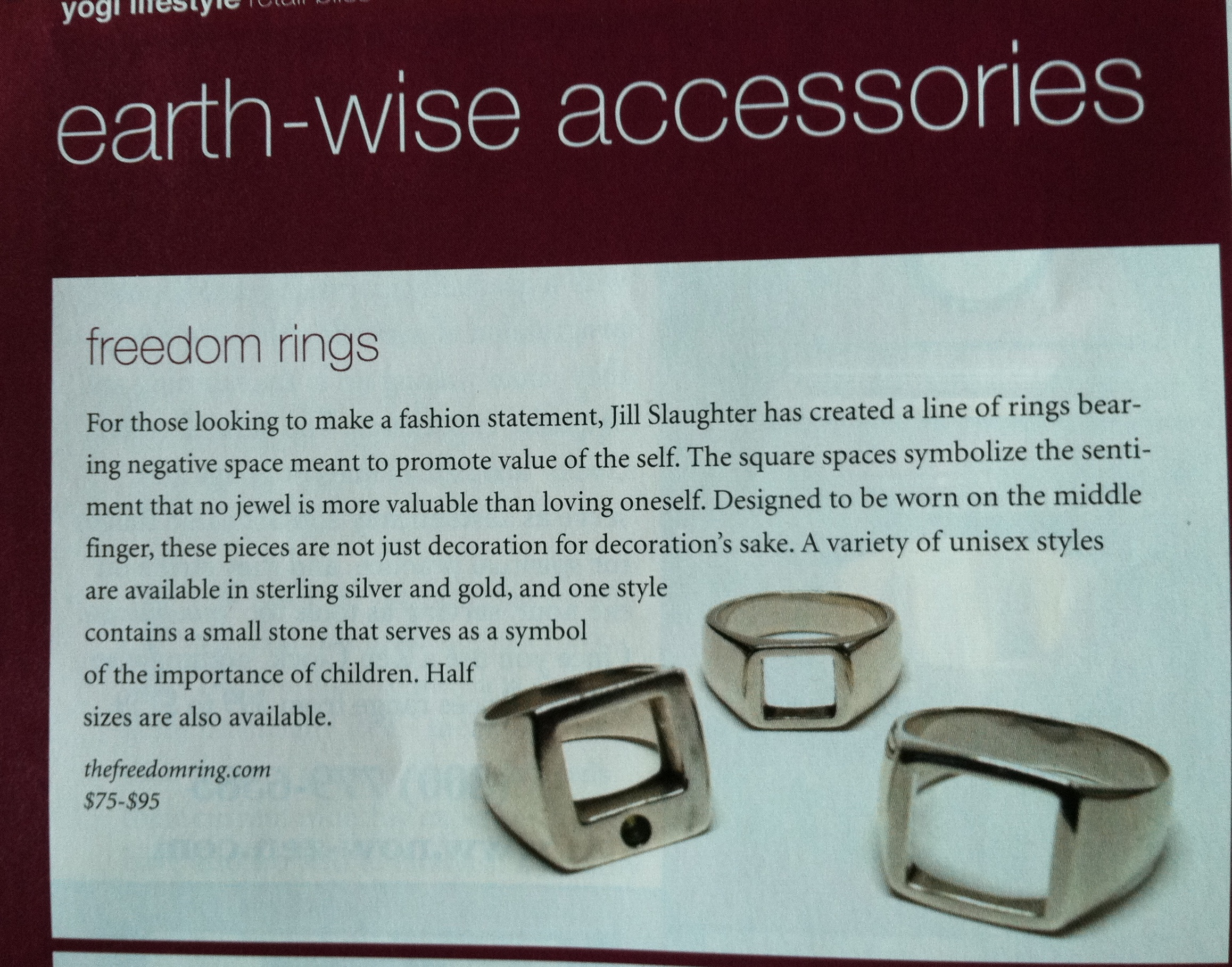 The Freedom Ring featured in the Los Angeles Yogi Times