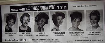 Subway black and white poster showing six possible contenders for the Miss Subway contest.