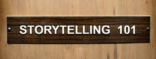 Door sign which says STORYTELLING.