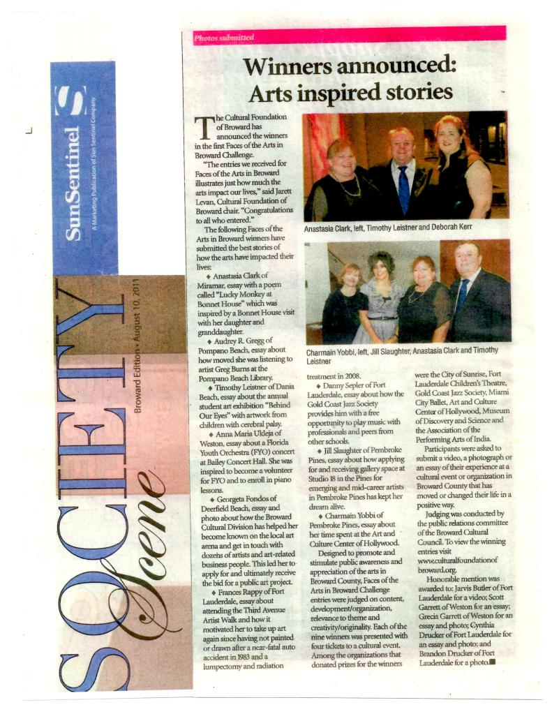 Society Scene article from August 10th Sun Sentinel