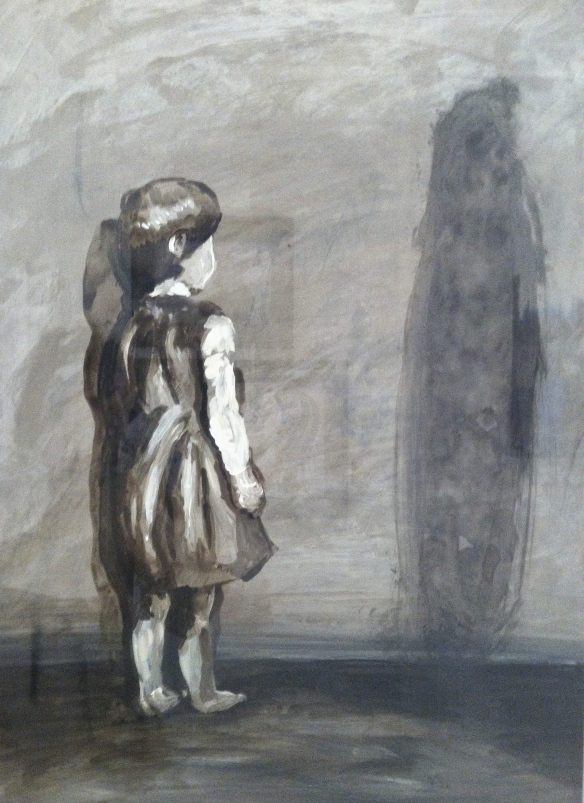 little girl standing alone with shadow figure