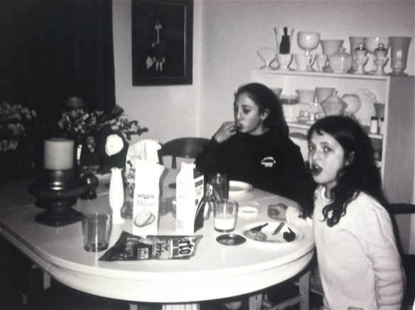 two of Jill's daughters at dining table