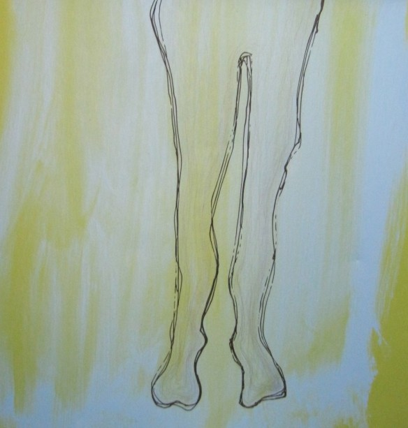 a painted image of legs