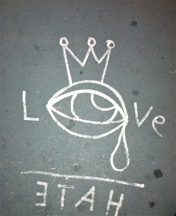 Love Hate written on the street