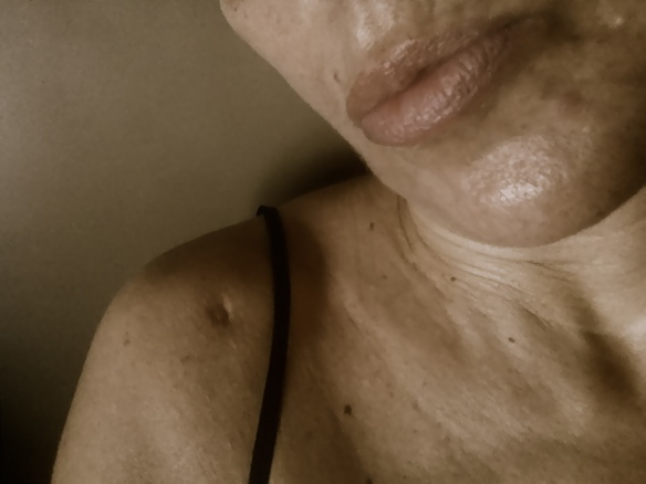 Scar on my right shoulder from surgery and my lips and chin