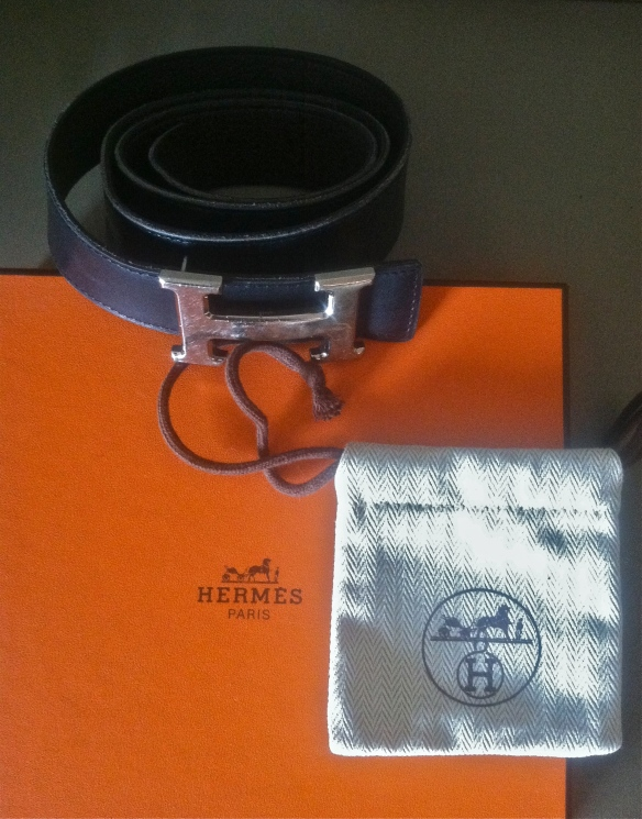 "Hermes ""H"" belt and Hermes orange box"