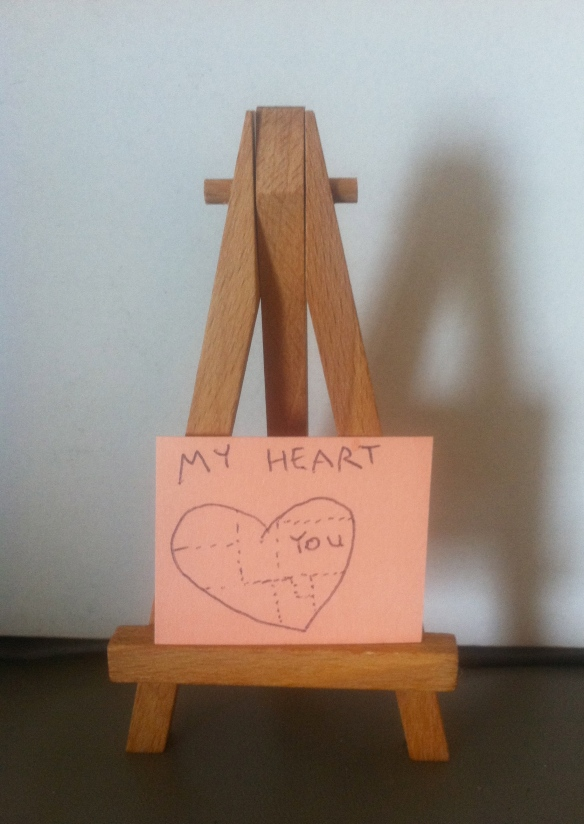 A small sign made by Jill Slaughter's daughter with a picture of a heart