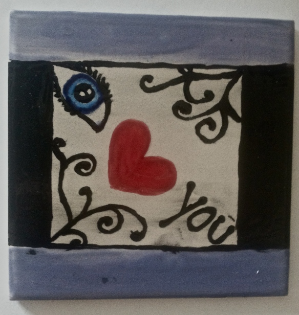 Painted tile saying I Love You by Jill Slaughter's youngest daughter