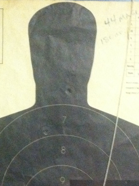 black image on white target with one bullet hole