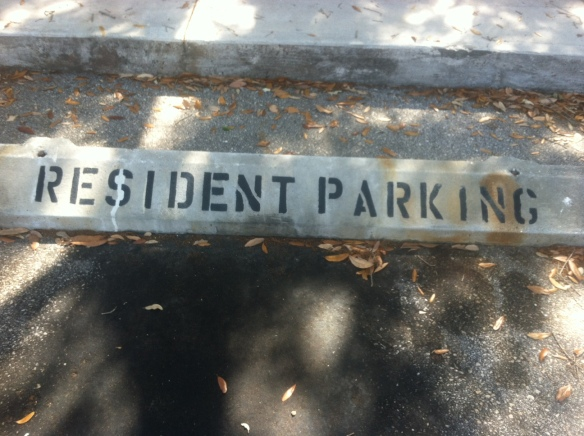 resident parking space sign